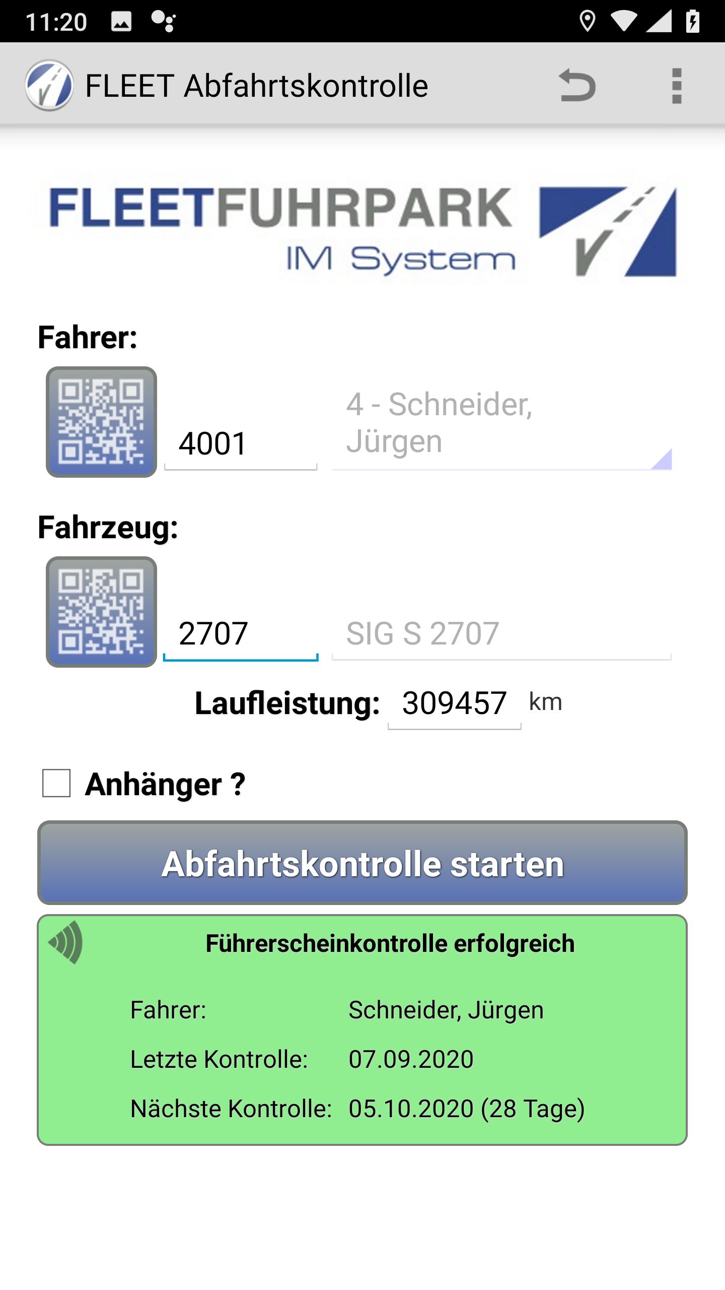 Abfahrtskontrolle Android