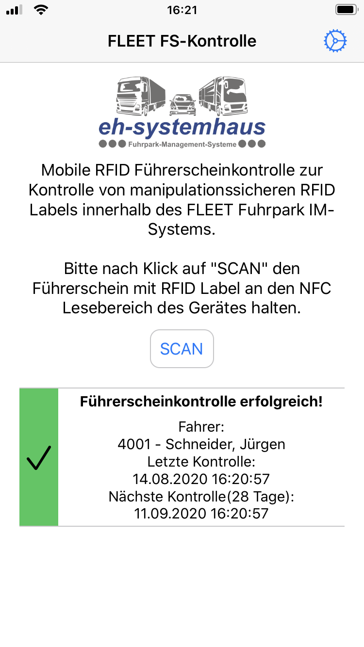 Führerscheinkontrolle iOS